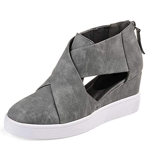 DecoStain Women's Concise Criss-Cross Cut-Out Wedge Sneakers Comfortable Back Zipper Shoes ()
