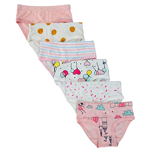Closecret Kids Series Baby Soft Cotton Panties Little Girls' Assorted Briefs(Pack of 6) (3-4 Years, Assorted 2) ()