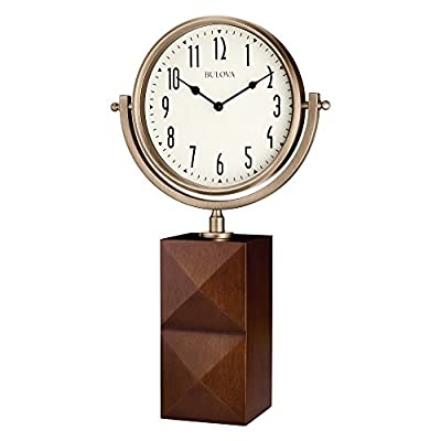 "Bulova B5403 Park Avenue Tabletop Clock, 14"", Cherry Finish - Sleek tabletop design with solid hardwood base Brushed bronze-tone movable metal frame Protective glass lens - clocks, bedroom-decor, bedroom - 41ZB7y xAIL. SS400  -"