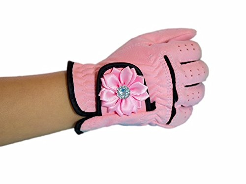 Pink Left Handed Golf Glove (Tot Jocks Pink Golf Glove with Rhinestone Flower for Girls Size Small (Right (For Left Handed Golfers)))