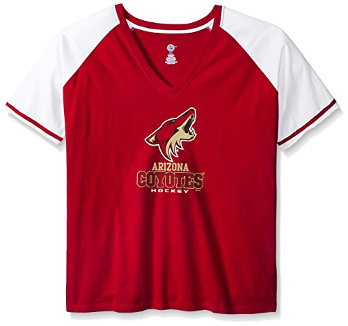 Profile Big & Tall NHL Phoenix Coyotes Women's Short Sleeve Raglan Deep V-Neck T-Shirt, Card Red/White, 1X ()