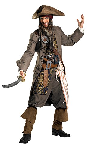 Disguise Men's Disney Pirates Of The Caribbean Captain Jack Sparrow Theatrical Costume, Brown/Blue White/Gold, XX-Large