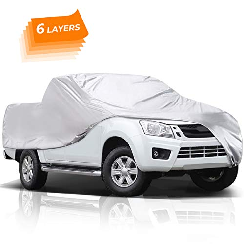 Audew 6 Layers Truck Cover, All Weather Car Cover for Pickup Truck, Waterproof Windproof Dustproof UV Protection Universal Car Covers for Truck, Fits up to 246''