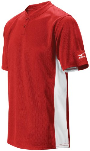 Mizuno Men's 2 Button Color Block Short Sleeve Baseball Jersey, Red, Small