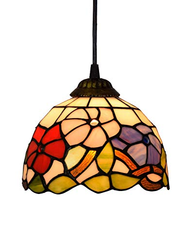 Kitchen Lighting Stained Island Glass - ZYear Pendant Lighting Wall Mount For Kitchen Island With Metal Chain And Flower Decorated Stained Glass Shade 8/12/16 Inch (Size : 8-Inch)