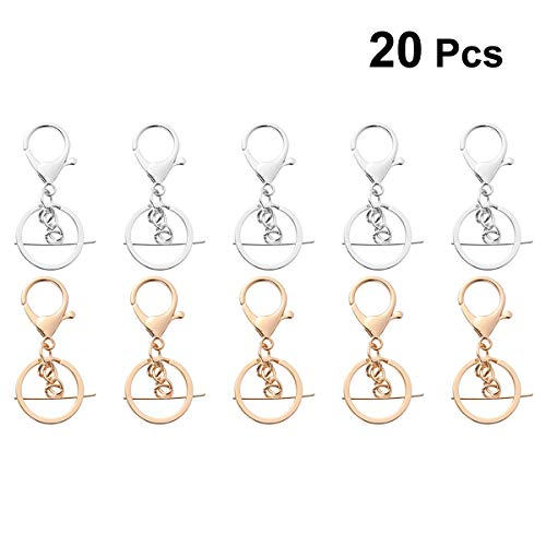 Artibetter 20 Pcs Lobster Clasp Keychain Lanyard snap Hook with Key Chain Keychain Rings ()