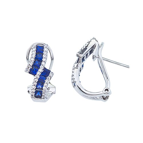 1.45 Carat (ctw) 14k White Gold Princess Sapphire and Diamond Bypass Dangle Earrings with Euro Back (1 x 1 MM)