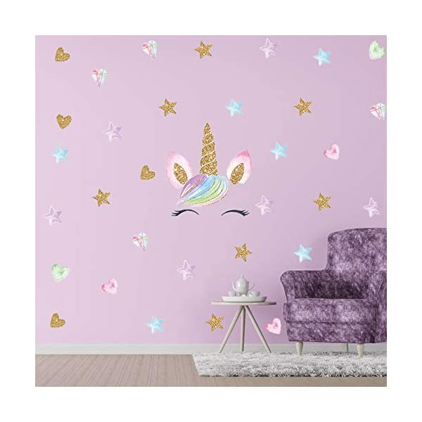 Unicorn Wall Decal, 4 Pack, 4 Styles, Unicorn Wall Stickers Decor with Heart & Stars for Girls Bedroom Home Decorations 6