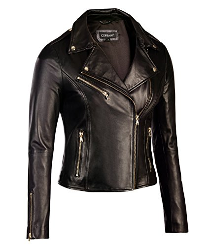 Corbani Womens Black Leather Biker Jacket Gold Hardware – Genuine Lambskin (Medium, Black)