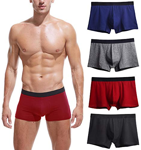 (Robesbon 4 Pack Mens Underwear Cotton Spandex Stretch Low Rise Pouch Boxer Briefs No Fly Medium )