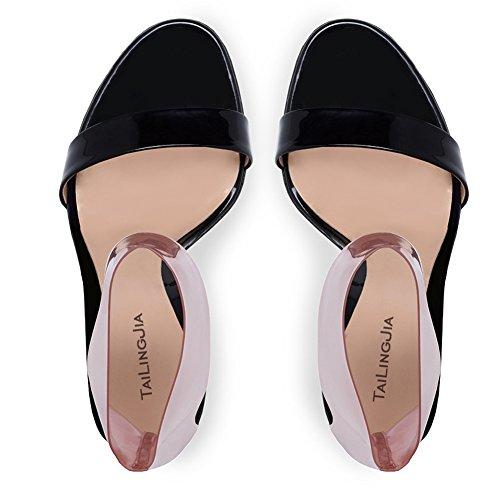 L@YC Damen Sandalen Mode Peep Toe Party Prom Elegante BeiläUfige Gericht/Handgemachte/GroßE GrößE Black