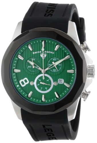 Swiss Legend Men's 10042-08-BB Monte Carlo Chronograph Green Textured Dial Black Silicone Watch