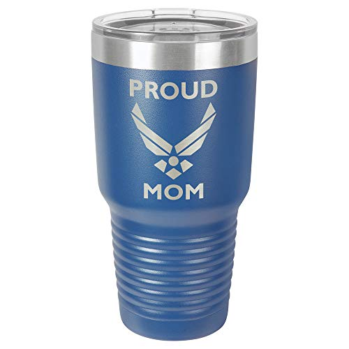 PROUD AIRFORCE MOM BLUE 30 oz Drink Tumbler With Straw | Laser Engraved Travel Mug With Funny Quotes | Compare To Yeti Rambler | Mother's Day Gift Idea | OnlyGifts.com