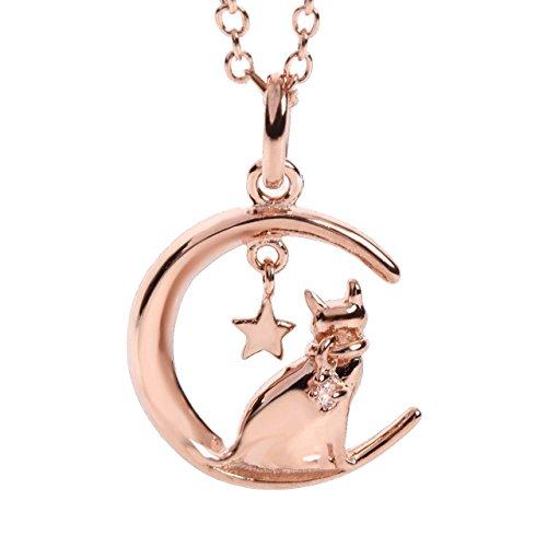 に座る猫 シルバー925 ダイヤモンドネックレス レディースアクセサリ 宝石箱 お手入れ用クロス 収納巾着 プレゼント用ギフトバック5点セット(ピンクゴールド)