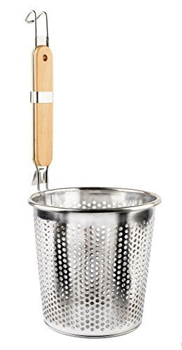 "Stainless Steel Food Strainer Colander With Wooden Hook Handle – As Noodle Pasta Strainer Steaming Basket - Best For Rinsing Pasta, Noodles,Fruits,ParBoiling-Fits Most Pots,Easy To Clean – Durable Solid Steel Frame -6.3"" Top Diameter,4.7"" Bottom -"