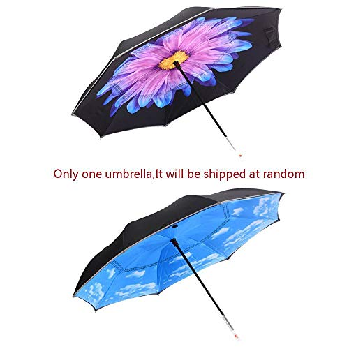 HaiYI LED Inverted Umbrella,Double Layer Car Reverse Umbrella,Windproof and UV Protection,Self Standing SOS Caution Warning Light,Reflective Piping Safe Straight Rain Umbrella for Outdoor (Flower) (Umbrella Rain Lights With)