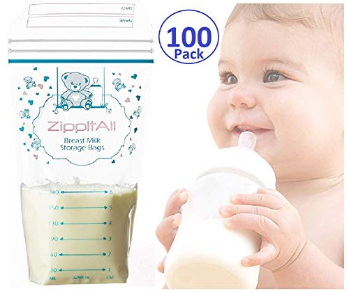 DiRose Breast Milk Storage Bags - Leak-Proof 100 Count Double Zipper 6 oz Capacity Extra Thick and Seal BPA/BPS Free/Disposable Pouches | Self-Standing Bag for Long and Safe Storing