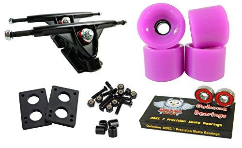 Longboard 180mm Trucks Combo w/70mm Wheels + Owlsome ABEC 7 Bearings (Solid Purple) ()