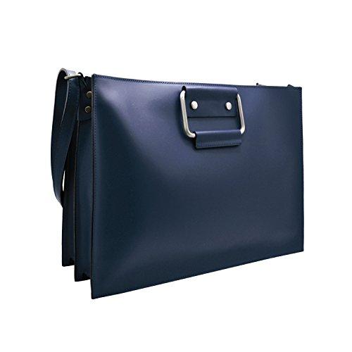 manici tracolla compiuter Borsa pelle Blu cartella GERRY porta portadocumenti liscia e aW6wq