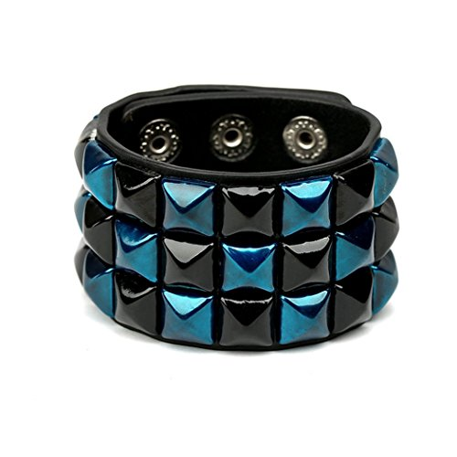 Bender Costume Amazon (MORE FUN Charm Punk Color Alexis Bittar Like Bangle Soft Leather Wide Cuff Bracelet with Snap Button)
