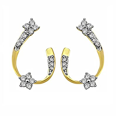 e04bcec1f10a68 Buy Pooja & Sonam .925 Sterling Silver and Cubic Zirconia Stud Earrings  Online at Low Prices in India | Amazon Jewellery Store - Amazon.in