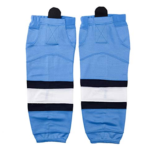 COLDINDOOR Junior Hockey Socks Light Blue White Stripe Design Cool Pro Youth Ice Hockey Socks XS