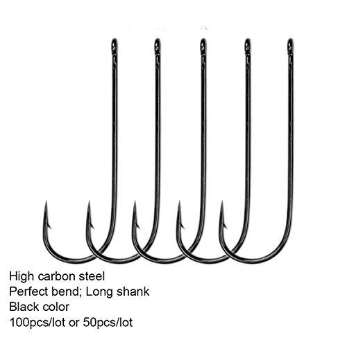 (dream-higher 100pcs Or 50pcs EP-9146 Aberdeen Sea Long Shank Sports Fishing Hook Black Color Fish Hooks Wide Gape Fishing Hook,Size 2I0 100pcs)