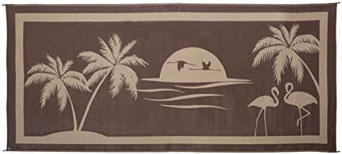 Stylish Camping TO8187 Brown Beige 8 x 18 Tropical Oasis Mat, 1 Pack