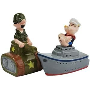 Westland Giftware Tank and Ship Ceramic Magnetic Salt and Pepper Shaker Set, 3.5-Inch