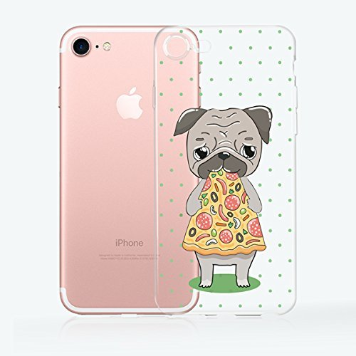 iPhone 8 / 7 Compatible, Colorful Rubber Flexible Silicone Bumper Clear Cover Case - Cute Pup Eating Pizza