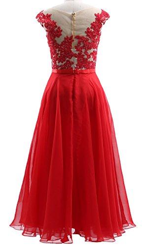 Violett Illusion Chiffon Prom Midi Wedding Dress Lace MACloth Cap Dress Party Sleeves TEqwUPU