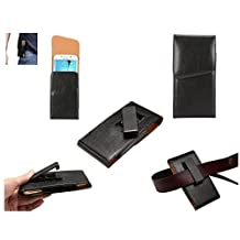 DFV mobile - Magnetic leather Holster Executive Case belt Clip Rotary 360º for => SPICE MI-525 PINNACLE FHD > Black