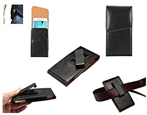 DFV mobile - Magnetic leather Holster Executive Case belt Clip Rotary 360º for => Vivo Y28L > Black
