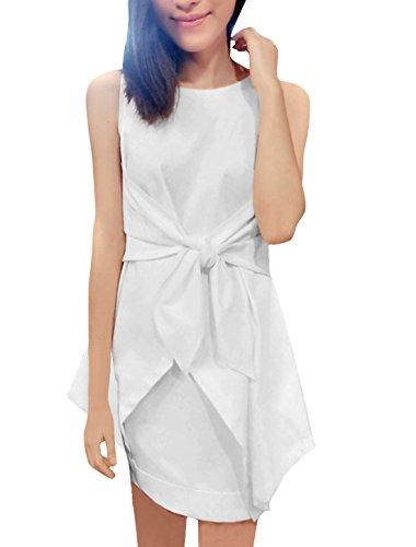 Damen selbst-Bowtie Front Tunc Top w Gummibund Minirock Set - Weiß, Damen, XS (EU 32)