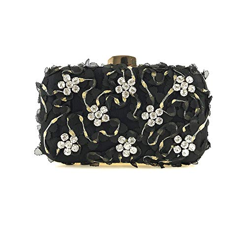 Banquet FZHLY Flower Handmade Ladies' Tote Shoulder Lace Package Party Handbags Black Dinner araY6S