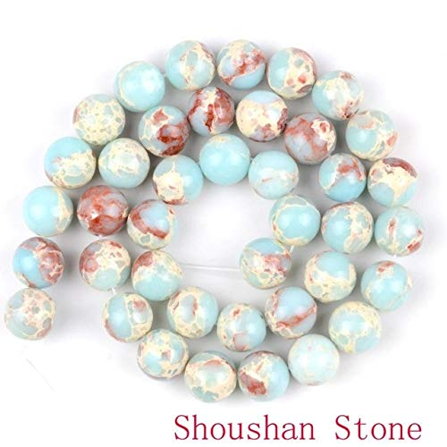 - Calvas Wholesale Natural Round Beads Black Crazy Agates Labradorite Turquoises Sodalite Stone Beads for Jewelry Making - (Color: Shoushan Stone, Item Diameter: 8mm)