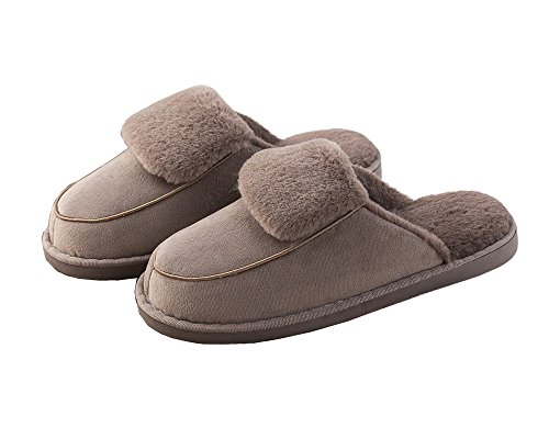 OSHOW Womens Slipper, Fluffy Slip On House Slippers Clog Soft Indoor Outdoor Slipper For Winter D Model-coffee