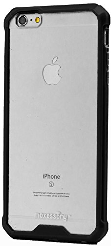 Maxessory [Solar] Crystal Clear Drop-Proof Protective Ultra-Thin Transparent Hard Rigid Shell Cover w/ Shockproof Protector Armor Black Clear For Apple iPhone 6s Plus (5.5 Inch) Case (Case Hardback Rubberized Cover)
