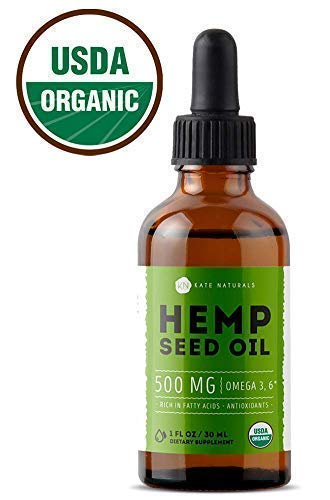 Organic Hemp Seed Oil Drops 2000mg (4oz) by Kate Naturals - Premium Pain Relief Anti-Inflammatory & Joint Support, Perfectly Balanced Essential Fatty Acids Omega 3, 6. Easily Digestible, Non-GMO,Pure