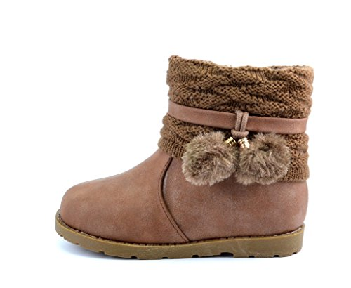 Dream Pairs DOREMI Girls Knit Sweater Winter Fur Boots Brown Toddler 8