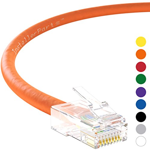 InstallerParts Ethernet Cable CAT6 Cable UTP Non-Booted 50 FT - Orange - Professional Series - 10Gigabit/Sec Network/High Speed Internet Cable, 550MHZ