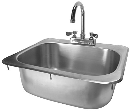 4 Backsplash Bowl Sink (ACE Stainless Steel Drop in Hand Sink with No Lead Faucet and Strainer, 15-3/4 by 14-3/4-Inch)