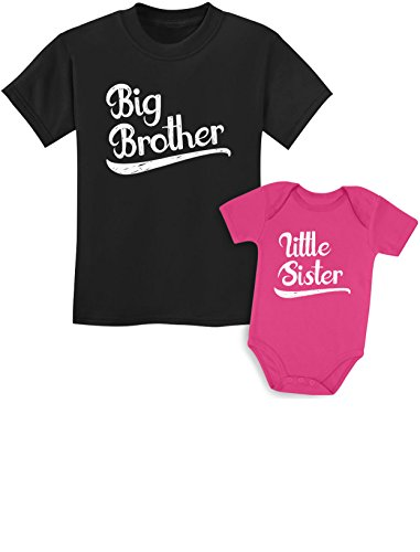 Sibling Shirts Set for Brothers and Sisters Boys & Girls Gift Set Kids Shirt Black/Baby Wow Pink Kids Shirt 5/6 / Baby -