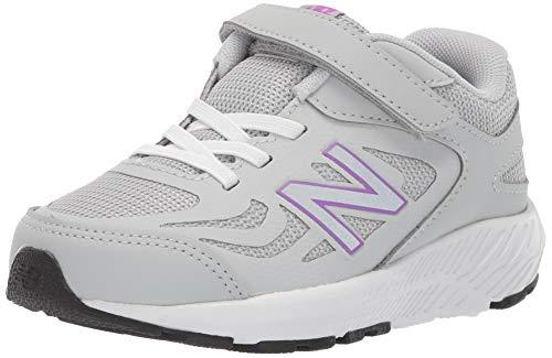 (New Balance Girls' 519v1 Hook and Loop Running Shoe, Light Aluminum/Voltage Violet, 2 W US Infant)