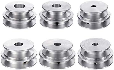 8Mm RanDal Aleaci/ón De Aluminio De Doble Surco 60 Y 50Mm Polea Rueda 8-20Mm Polea De Di/ámetro Fijo Para Eje Del Motor Correa De 10Mm