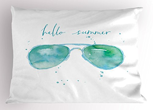 Hello Summer Pillow Sham by Ambesonne, Image of Watercolor Style Sunglasses and Motivational Phrase and Speckles, Decorative Standard King Size Printed Pillowcase, 36 X 20 Inches, Sky Blue - Sunglasses Sham