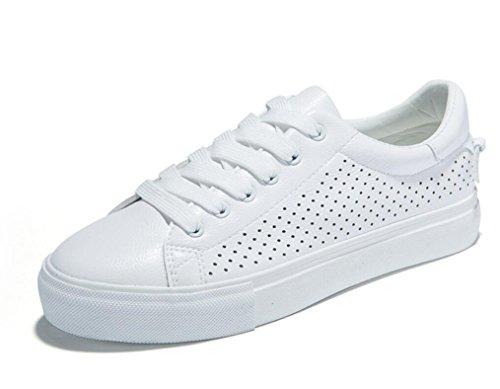 XIE Señora Zapatos Retro Plano Bottom Ocio Movimiento Cómodo Estudiantes Escuela Compras Blanco Verde, White, 35 WHITE-35