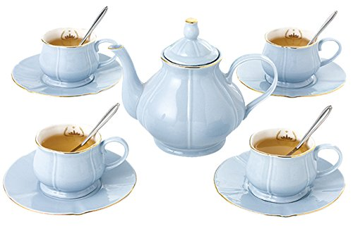 Jusalpha Fine China Coffee Cups - Teacup Saucer Spoon Set with Teapot- Serve of 4 (FL Teapot cup set 04) (Blue)