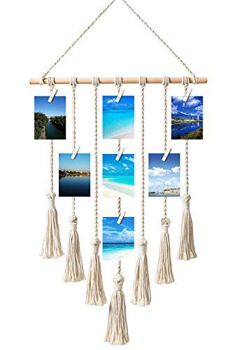 (Toniya Hanging Photo Display Pictures Organizer Macrame Wall Bohemian Home Decor,with 30 Wood Clips)