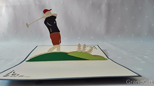 Golf, tiger wood, golf club ,landmark pop up Greeting Card Mercedes-Benz Car Anniversary Baby Happy Birthday Easter Mother's Day Thank You Valentine's Day Wedding Kirigami Paper Craft PostCards Tiger Woods Christmas Card